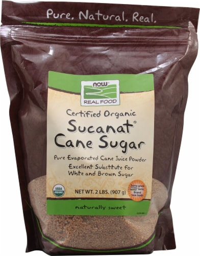 NOW Foods  Real Food™ Certified Organic Sucanat® Cane Sugar Perspective: front
