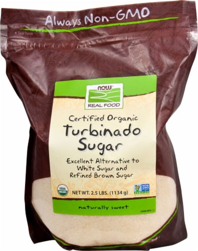 NOW Foods Real Food Organic Tubinado Sugar Perspective: front