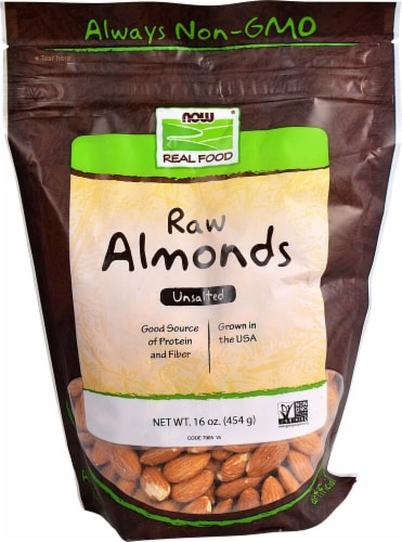 NOW   Real Food Raw Almonds   Unsalted Perspective: front