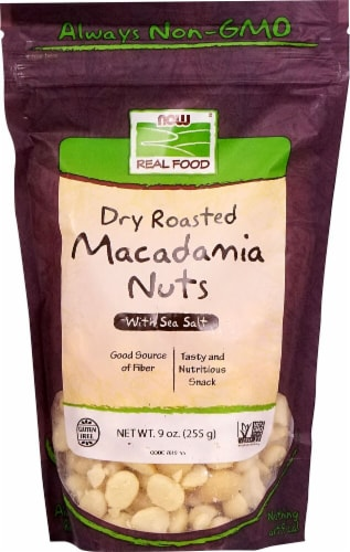 NOW   Real Food Dry Roasted Macadamia Nuts - Sea Salt Perspective: front