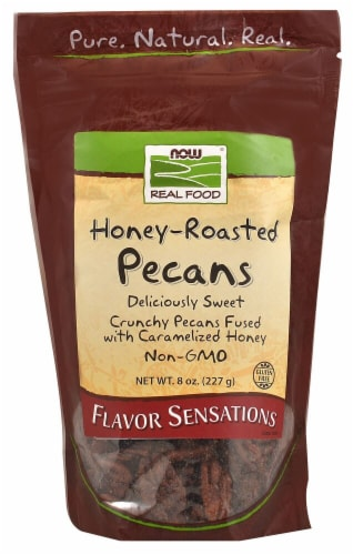 NOW   Real Food Honey-Roasted Pecans Perspective: front