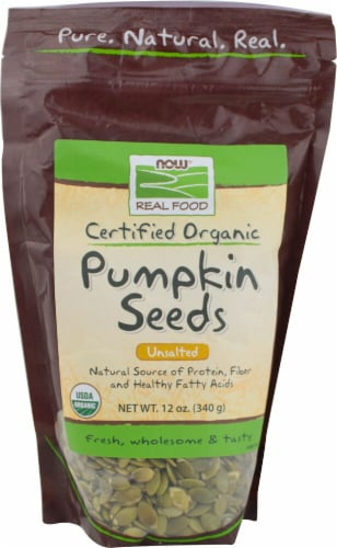 NOW   Real Food Organic Raw Pumpkin Seeds Unsalted Perspective: front