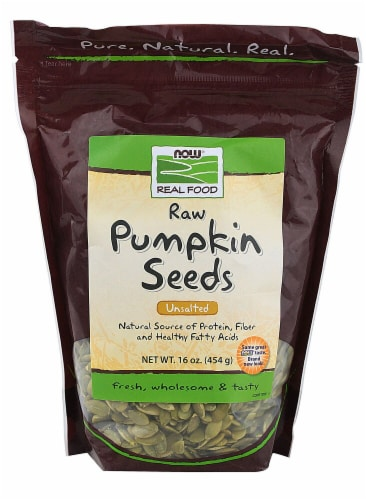 NOW   Real Food Raw Pumpkin Seeds Unsalted Perspective: front