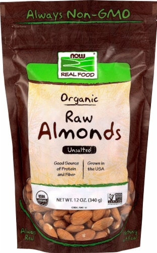 NOW   Real Food Organic Raw Unsalted Shelled Almonds Perspective: front