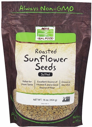 NOW   Real Food Roasted Sunflower Seeds Salted Perspective: front