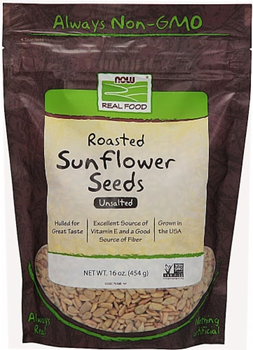 NOW   Real Food Roasted Sunflower Seeds Unsalted Perspective: front