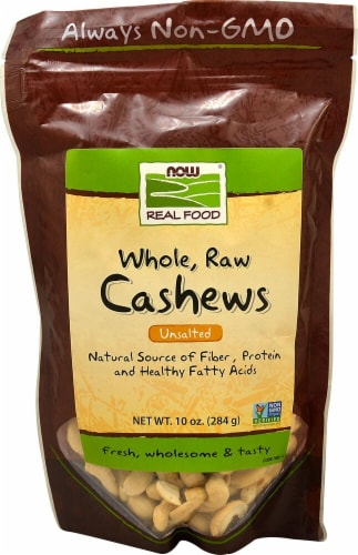 NOW   Real Food™ Whole Raw Cashews Unsalted Perspective: front