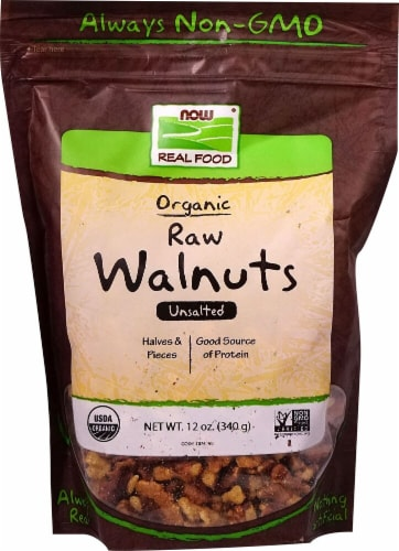 NOW   Real Food Organic Raw Walnuts Unsalted Perspective: front