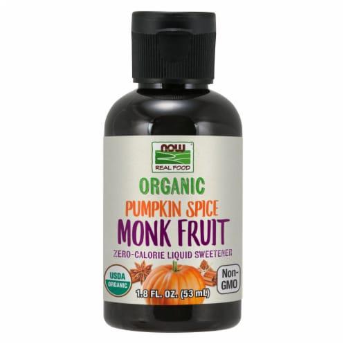 Now Foods Organic Pumpkin Spice Monk Fruit Liquid Sweetener Perspective: front