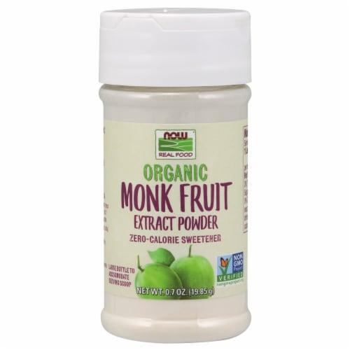 NOW Foods Organic Monk Fruit Extract Powder Zero-Calorie Sweetener Perspective: front