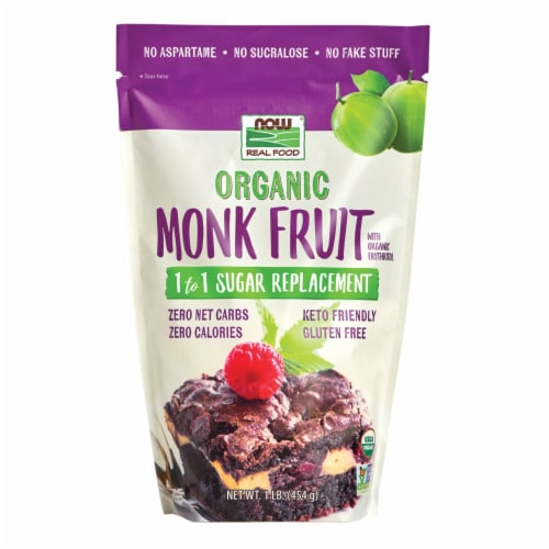 NOW Foods Organic Monk Fruit with Erythritol Sugar Replacement Powder Perspective: front