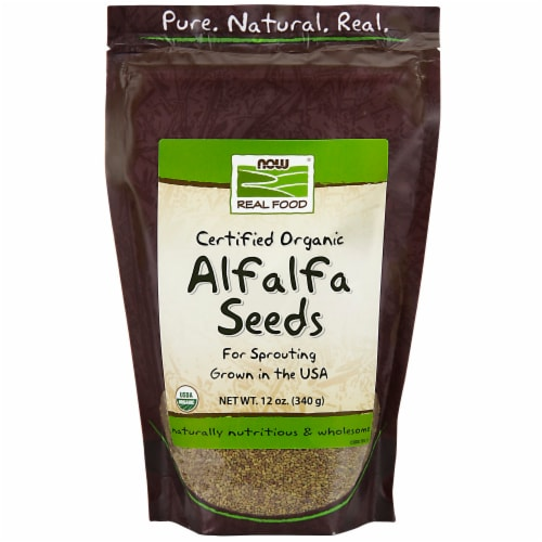 NOW Foods Organic Alfalfa Seeds Perspective: front