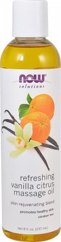 NOW Foods  Solutions Refreshing Vanilla Citrus Massage Oil Perspective: front