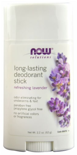NOW Foods  Solutions Deodorant Stick Long-Lasting Refreshing Lavender Perspective: front