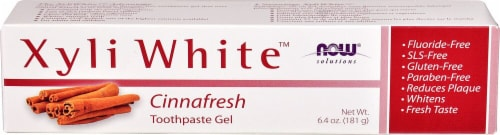 NOW Foods  Solutions Xyli White Toothpaste Gel   Cinnafresh Perspective: front
