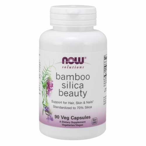 Now Foods Bamboo Silica Beauty Veg Capsules Perspective: front