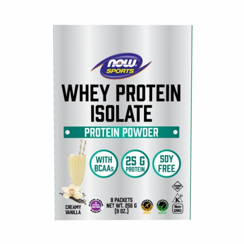 NOW Foods Whey Protein Isolate Vanilla Protein Powder Packets Perspective: front