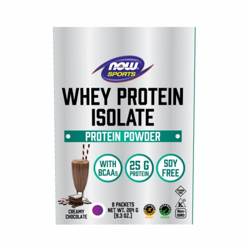 NOW Foods Whey Protein Isolate Creamy Chocolate Protein Powder Packets Perspective: front