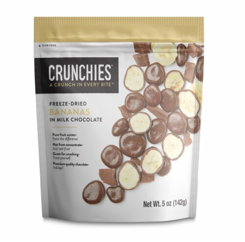 Crunchies Milk Chocolate Freeze Dried Bananas Perspective: front