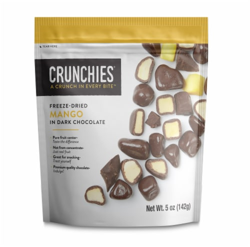 Crunchies Dark Chocolate Freeze Dried Mango Perspective: front