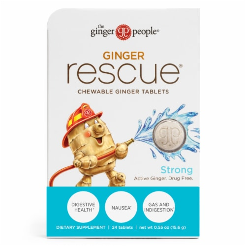 The Ginger People Ginger Rescue Chewable Ginger Tablets Perspective: front