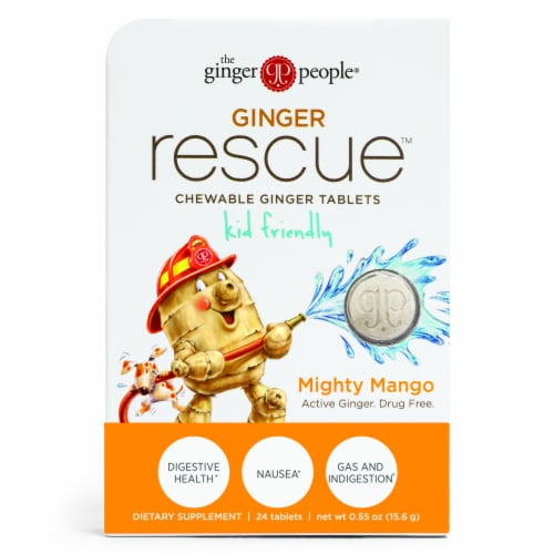 The Ginger People for Kids Ginger Rescue Mighty Mango Chewable Ginger Tablets Perspective: front