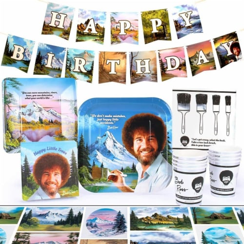 Bob Ross Classic Birthday Party Supplies Pack | 66 Pieces | Serves 8 Guests Perspective: front