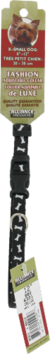 Alliance Black Bones Extra Small Dog Collar Perspective: front