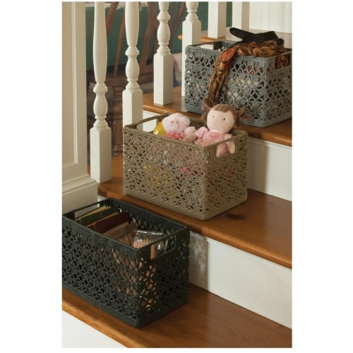 Heritage Lace Mode Crochet Wire Basket, Tan - 12 x 7 x 8 in. Perspective: front