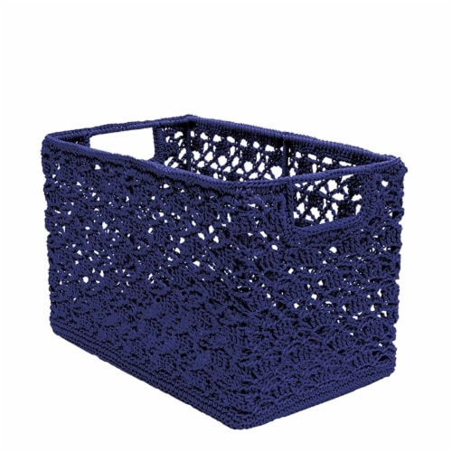 Heritage Lace 12 x 7 x 8 in. Mode Crochet Wire Basket, Navy Perspective: front