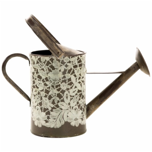 Heritage Lace VG-003 17 x 14 in. Vintage Garden Watering Can - Metal Lace Perspective: front