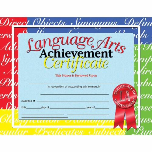 Language Arts Achievement Certificate, 8.5  x 11 , Pack of 30 Perspective: front
