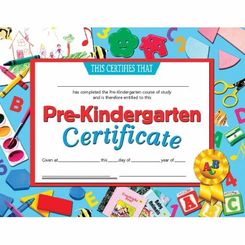 Pre-Kindergarten Certificate, 8.5  x 11 , Pack of 30 Perspective: front