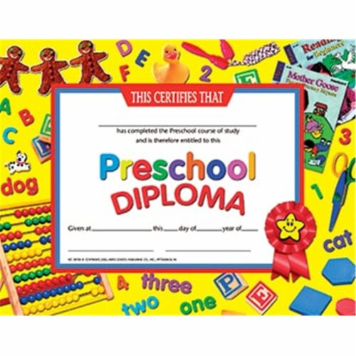 Preschool Diploma, 8.5  x 11 , Pack of 30 Perspective: front