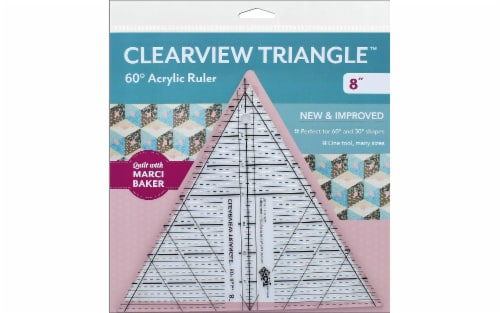 C&T Ruler Clearview Ruler 60 Degree Triangle 8 Perspective: front