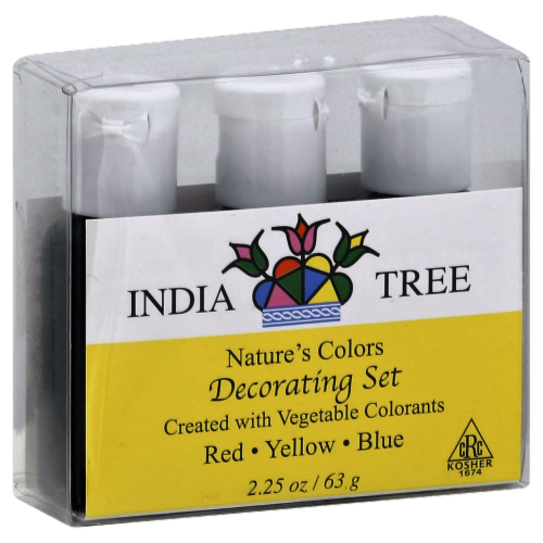 India Tree Nature's Colors Decorating Set Red Yellow Blue Perspective: front