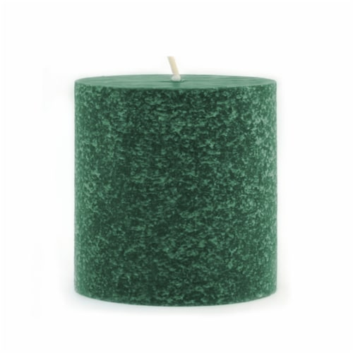 Root Candles Timberline Unscented Pillar - Dark Green Perspective: front