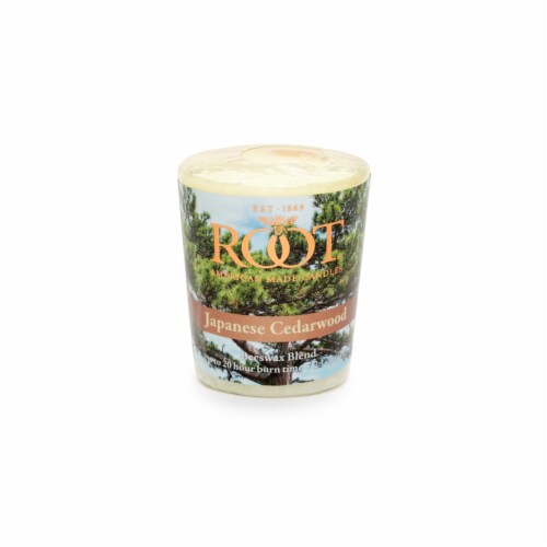 Root Candles Votive Scented Candle - Japanese Cedarwood Perspective: front