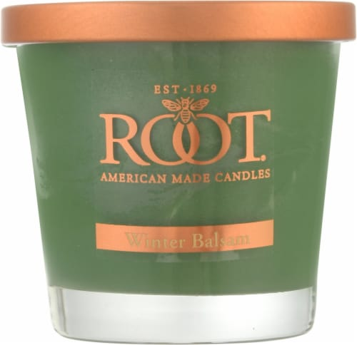 Root Candles Small Veriglass Fresh Balsam Scented Candle Perspective: front