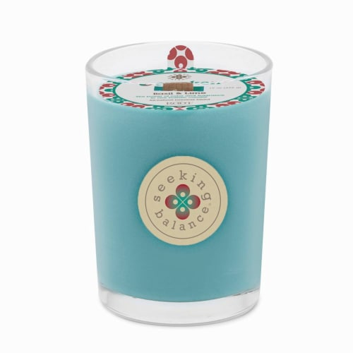 Root Candles Seeking Balance Awaken Scented Candle - Blue Perspective: front