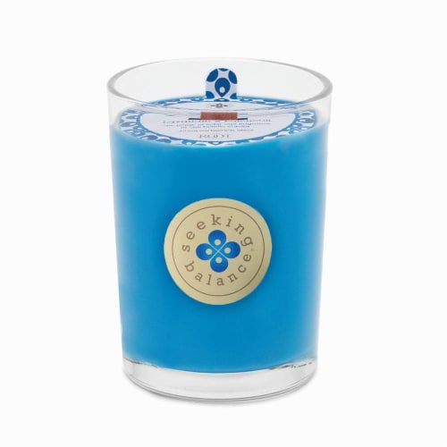 Root Candles Seeking Balance Empower Scented Candle - Blue Perspective: front