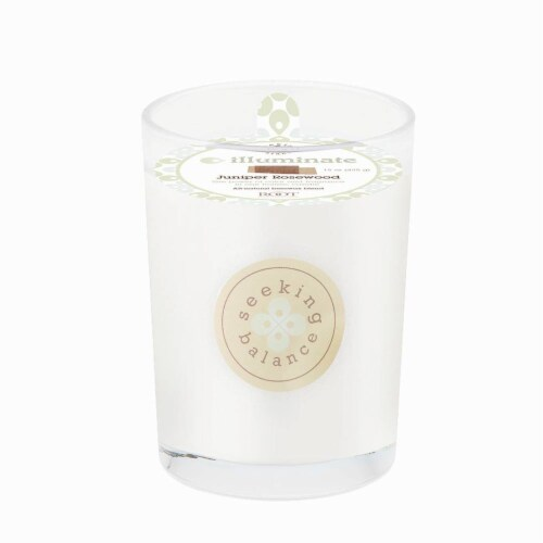 Root Candles Seeking Balance Illuminate Scented Candle - White Perspective: front