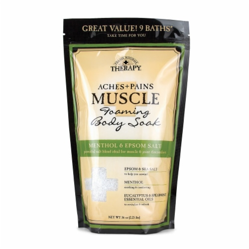 Village Naturals Aches + Pains Muscle Relief Enhanced Foaming Soak Perspective: front