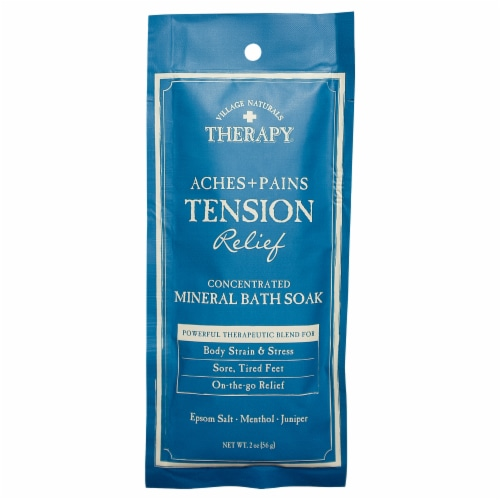 Village Naturals Therapy Aches + Pains Tension Relief Mineral Bath Soak Perspective: front