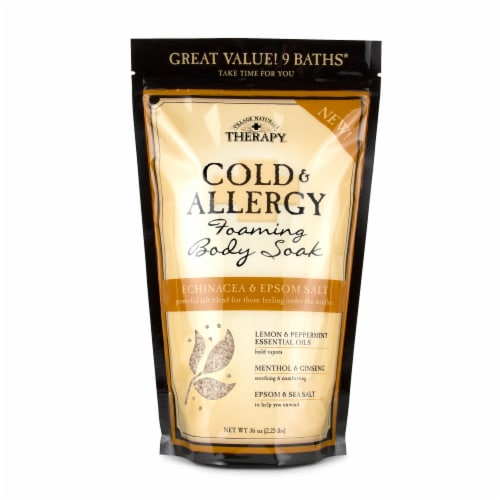 Village Naturals Therapy Aches + Pains Cold & Allergy Foaming Body Soak Perspective: front