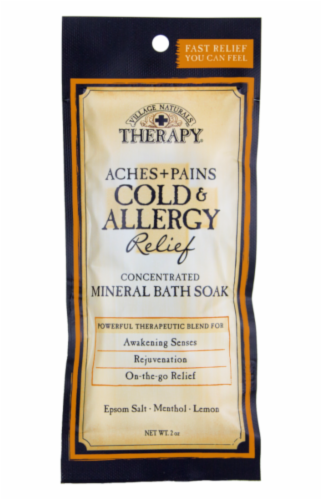 Village Naturals Therapy Aches + Pains Cold & Allergy Relief Concentrated Mineral Bath Soak Packet Perspective: front