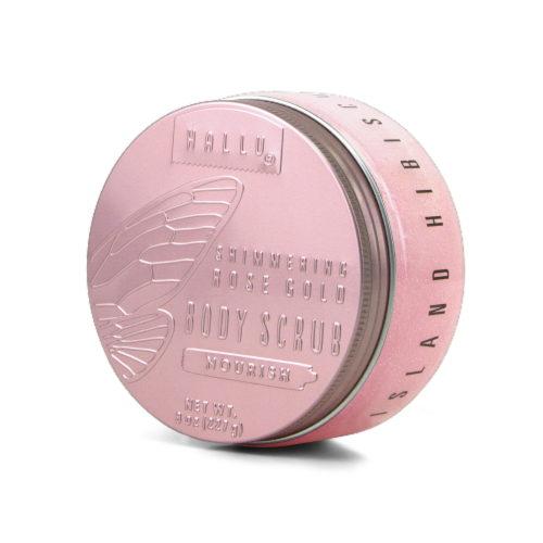 Hallu Shimmering Rose Gold Body Scrub Perspective: front
