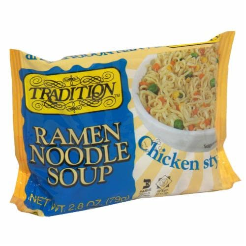 Tradition Low Fat Chicken Style Ramen Noodle Soup Perspective: front