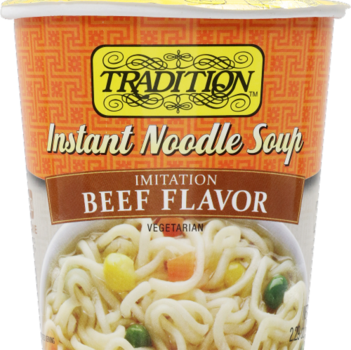 Tradition Beef Style Instant Noodle Soup Perspective: front