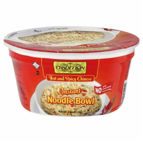 Tradition Hot & Spicy Chinese Instant Noodle Bowl Perspective: front